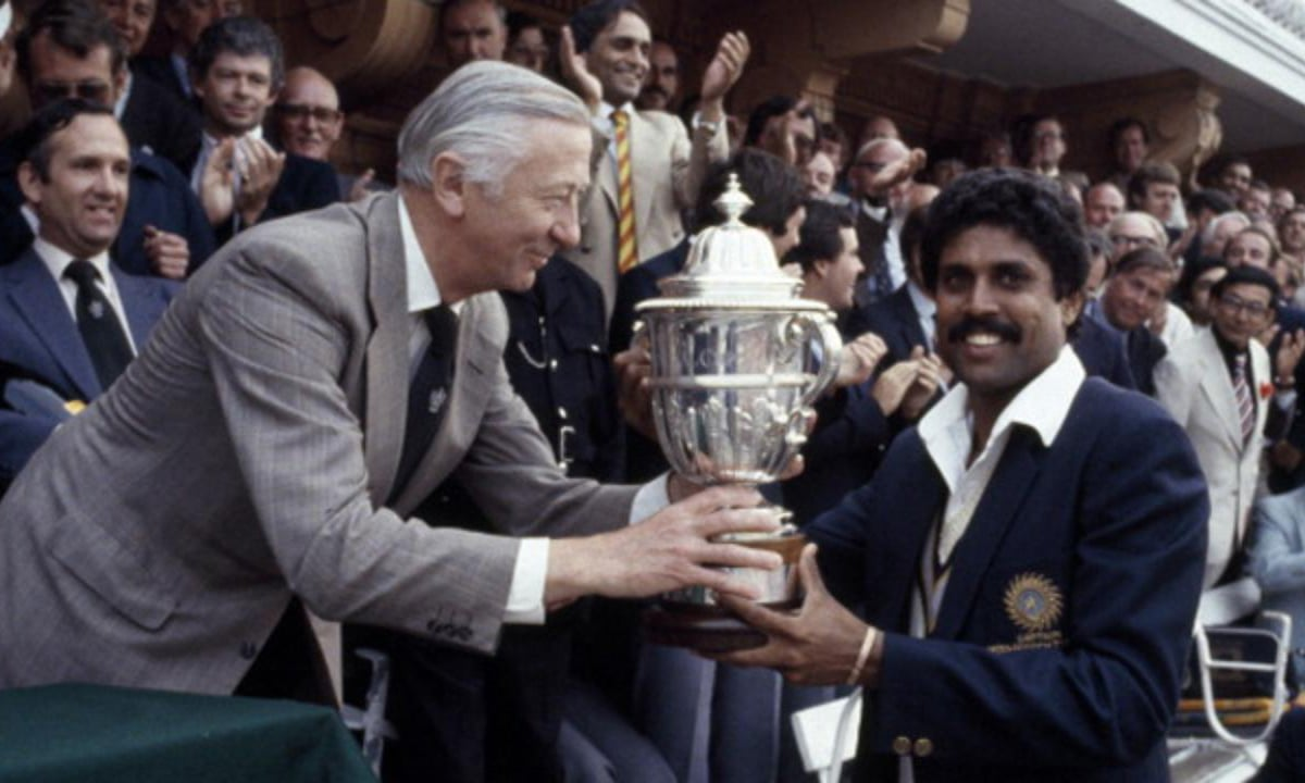Indian captain Kapil Dev receiving World Cup trophy. — Courtesy photo