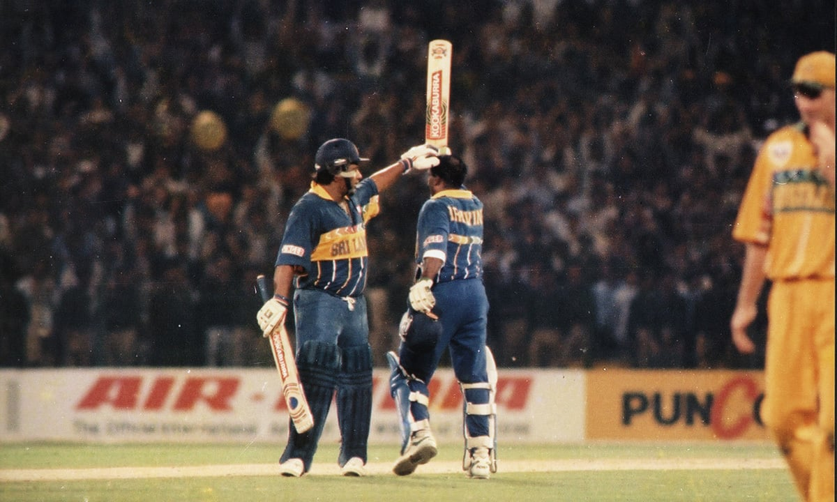 Sri Lankan player responding to crowd's praise during the 1996 World Cup final between Sri Lanka and Australia. — Courtesy photo