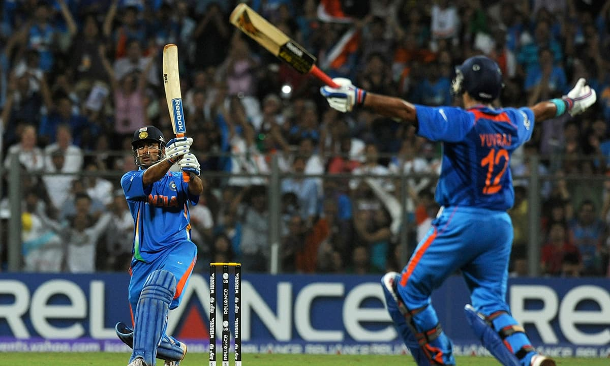 Indian captain Mahendra Singh Dhoni plays a shot during the 2011 World Cup final between India and Sri Lanka. — Photo: AFP