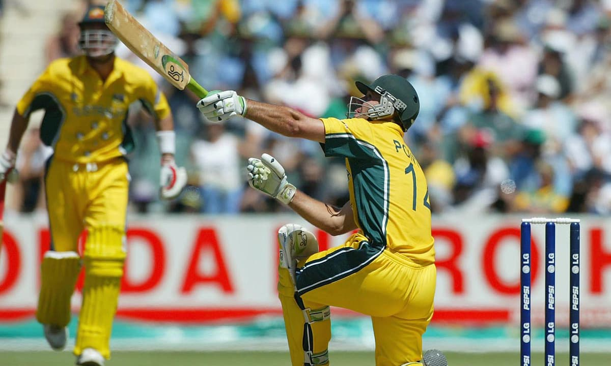 Ricky Ponting plays a shot during the 2003 World Cup final played between Australia and India. — Photo: cricket.com.au