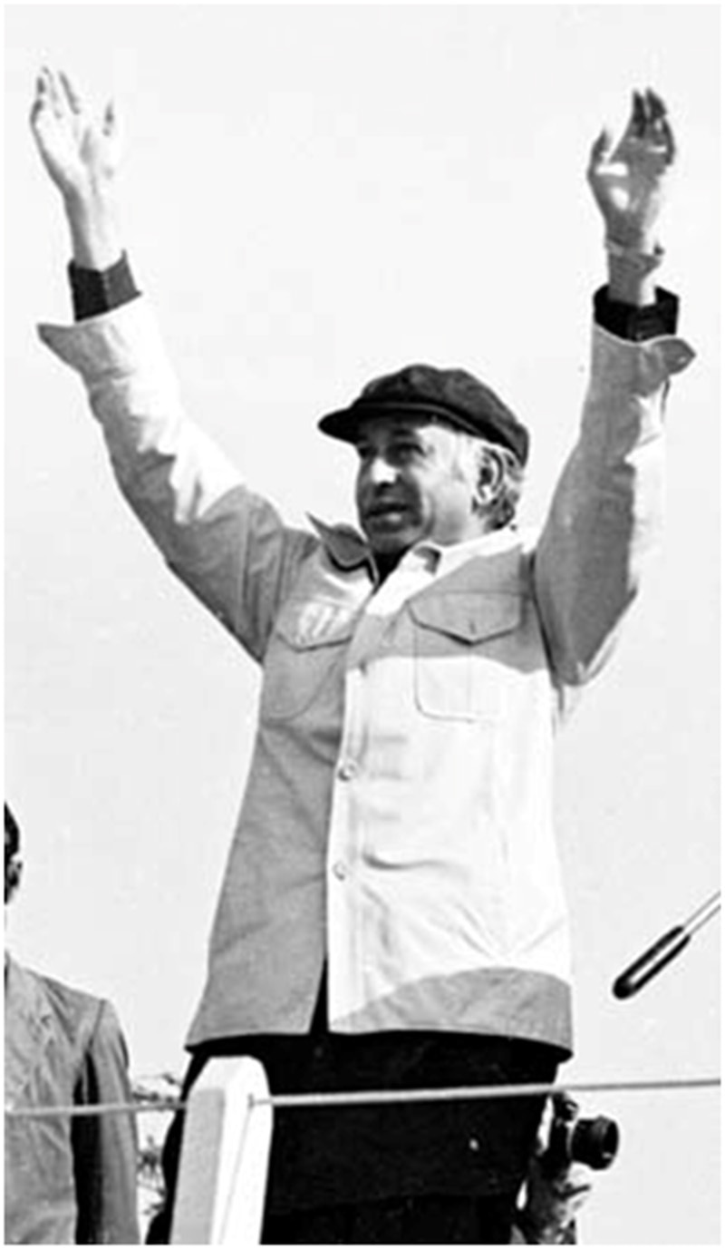 ZA Bhutto in his favourite 'Mao cap' waves to the crowd in 1973.