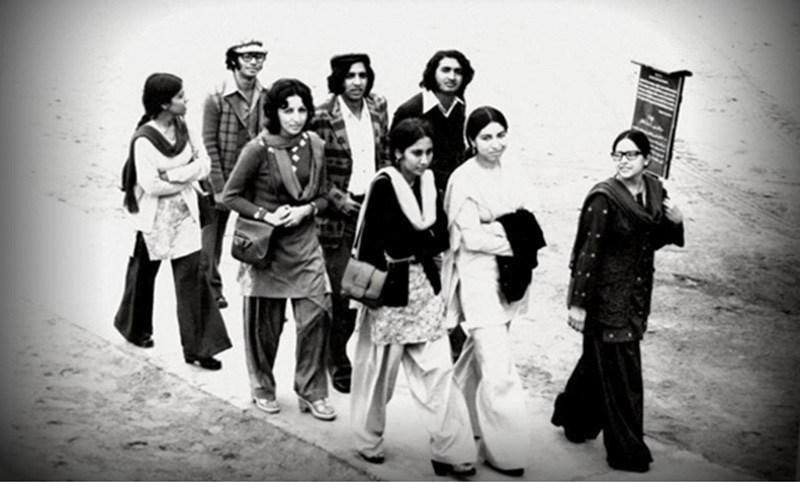 Students at a medical college in Karachi in 1975. The Bhutto regime's confidence had peaked by 1975 as he thought he was successfully treading a clever line between liberalism, populism and faith-based conservatism. But the façade collapsed in 1977.