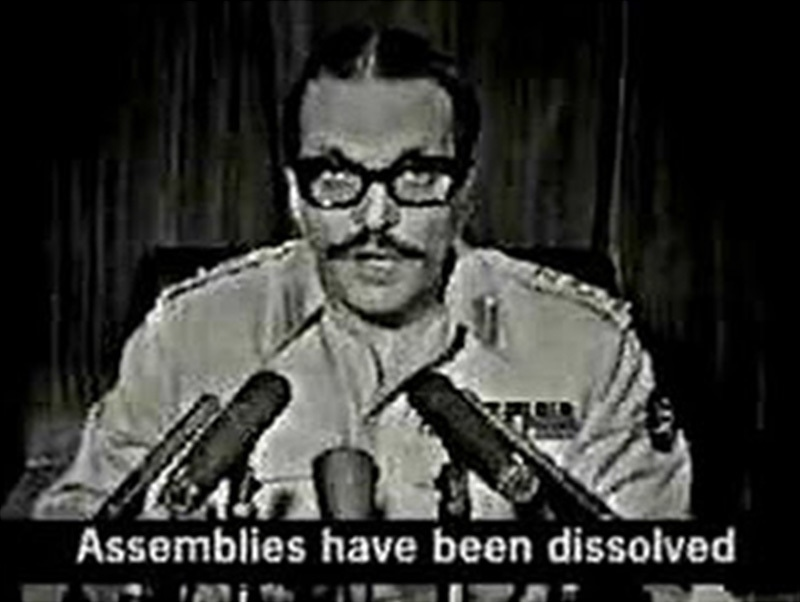 Ziaul Haq addressing the nation after taking over power in a military coup (July 1977).