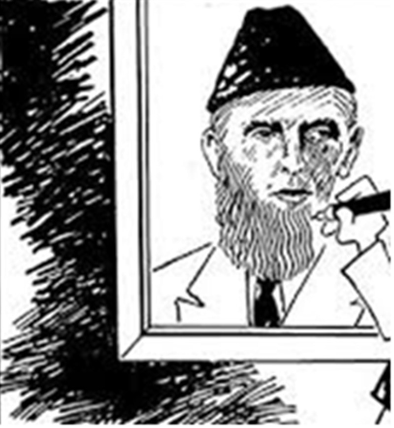 DAWN's cartoonist, Zahoor's depiction of how Jinnah was given a fake beard in the 1980s.