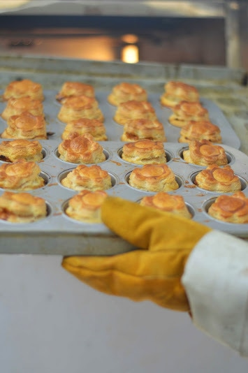 Students making puff pastry at the institute.