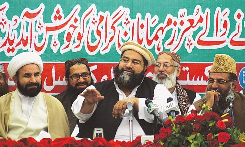 Pakistan Ulema Council central chairman Hafiz Tahir Mehmood Ashrafi speaking at the Ulema convention on Sunday.—PPI