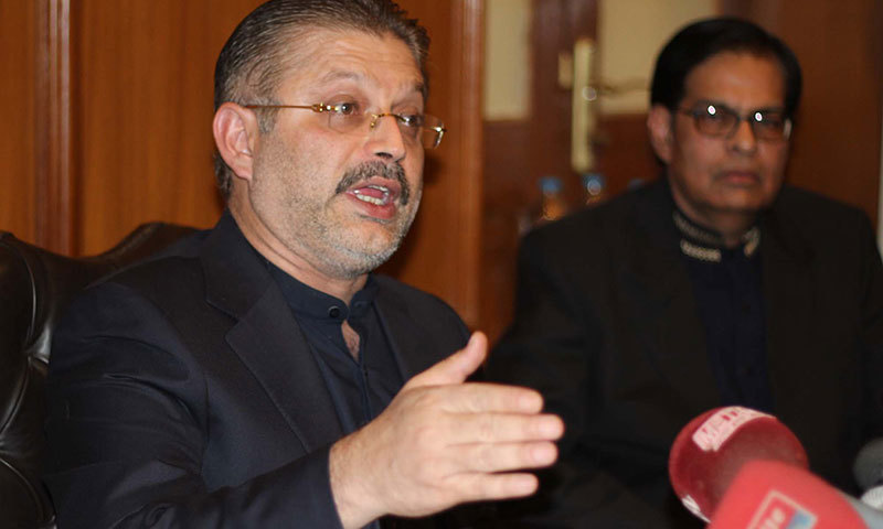 In this photo, Sindh Information Minister Sharjeel Inam Memon addresses a press conference in Karachi. — PPI/File