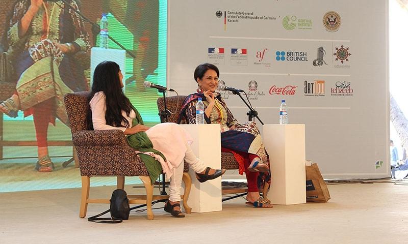 "Bushra Ansari and Nimra Bucha during the session ""The Complete Performer: In Conversation with Bushra Ansari"". —Mahjabeen Mankani"
