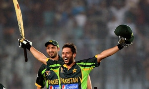 Shahid Afridi's two sixes against India in the Asia Cup gave Pakistan a last-gasp win. — Photo by AFP