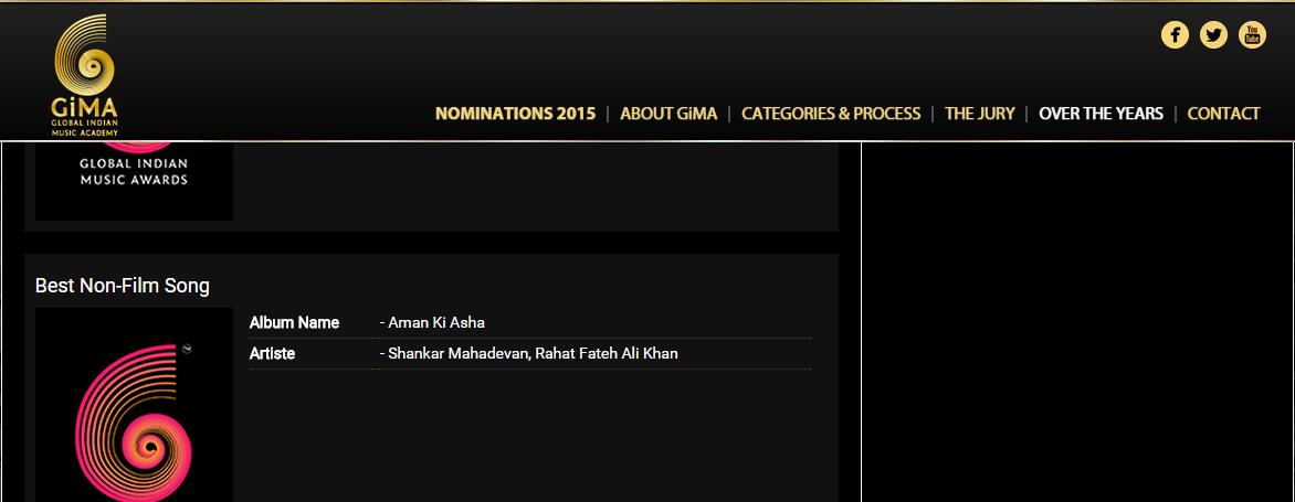 Rahat Fateh Ali Khan and Shankar Mahadevan won the award for their album 'Aman Ki Asha'. – Screenshot