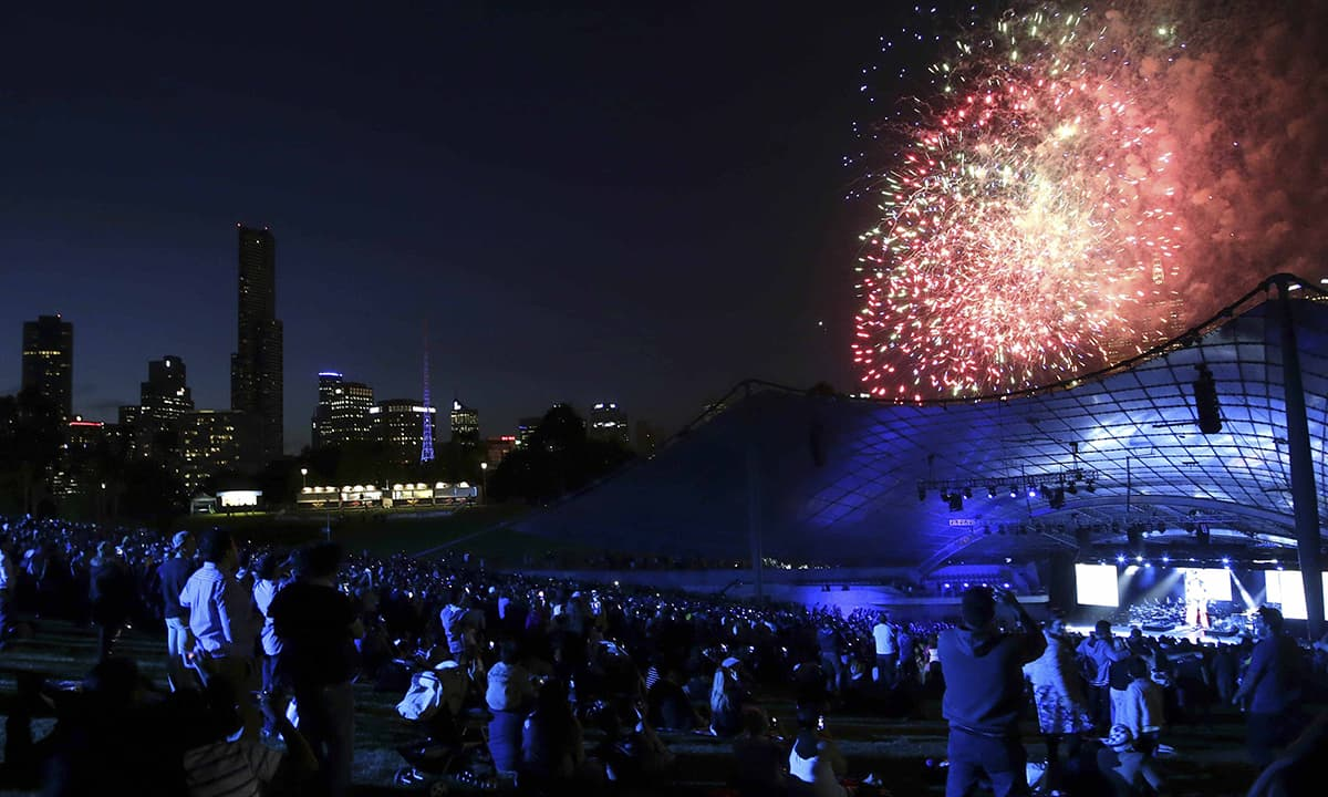 Fireworks explode during the ICC World Cup 2015 opening event at the Sidney Myer Music Bowl in Melbourne on February 12, 2015. — Reuters