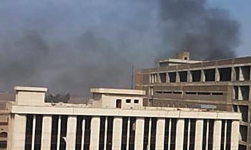 DawnNews screenshot shows plume of smoke rising from blast site
