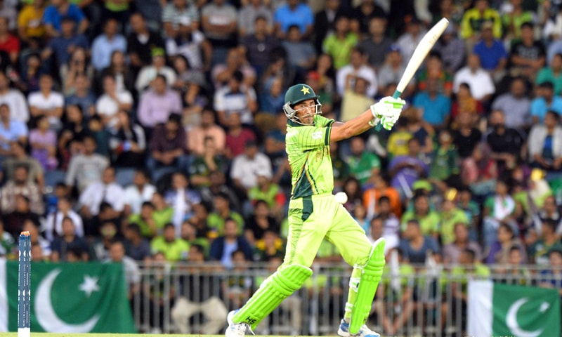 Younis Khan plays a shot during a World Cup warm-up match against Bangladesh in Sydney - AFP/File
