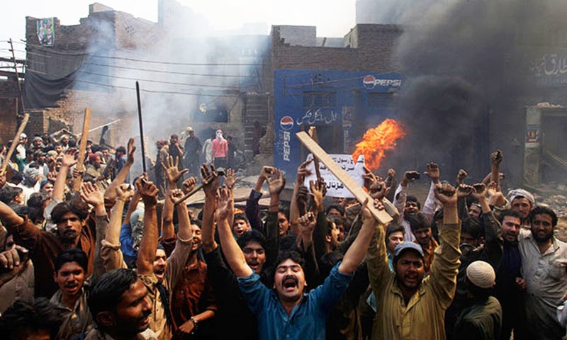 Mobs rampaged through the Joseph Colony neighbourhood of Lahore in March last year after the allegations against Sawan Masih emerged. —AFP