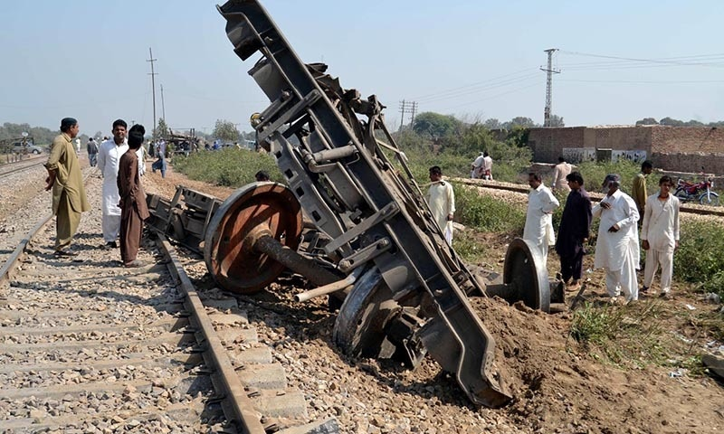 HYDERABAD: Parts of derailed boogies of Shalimar Express. — INP