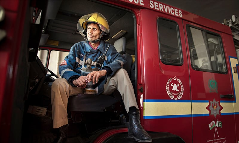 Zafar is always the first one to answer a call when the phone rings at his fire station.—Nadir Siddiqui