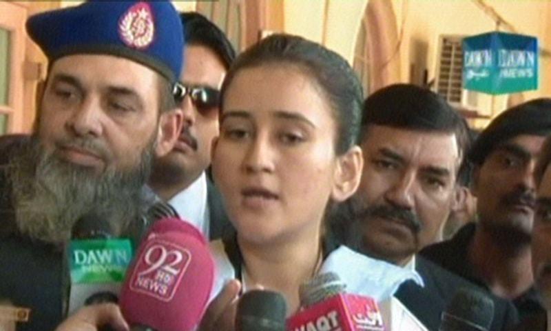 - Screenshot by DawnNews shows lawyer Shazia Hanjra speaking to reporters