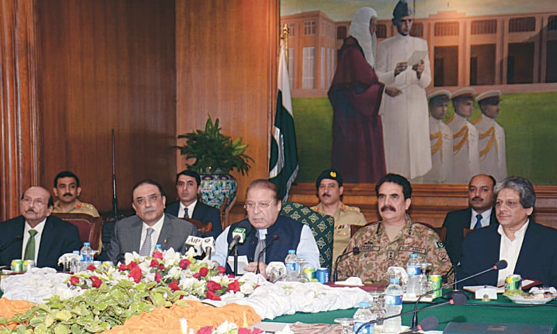 KARACHI: Prime Minister Nawaz Sharif, former president Asif Ali Zardari, Sindh Chief Minister Syed Qaim Ali Shah, Chief of Army Staff Gen Raheel Sharif and Governor Dr Ishratul Ibad Khan attend a meeting of the provincial Apex Committee at the Governor House here on Monday.—INP