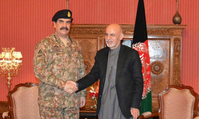 General Raheel Sharif meeting with Ashraf Ghani in Kabul. -ISPR Photo
