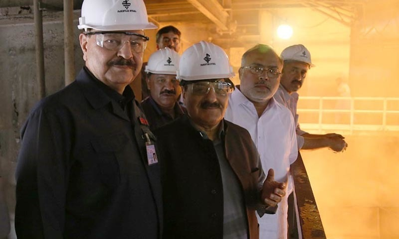 KARACHI: Minister of State for Parliamentary Affairs, Sheikh Aftab Ahmed visiting Pak Steel. — INP
