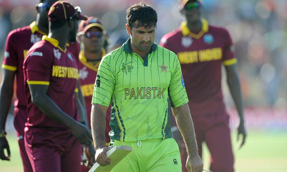 Pakistan's Sohail Khan walks from the field after they lost their Cricket World Cup match to the West Indies. -AP