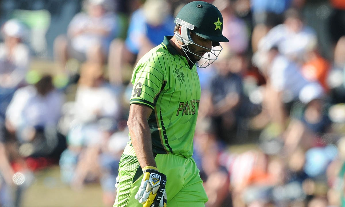 Pakistan's Shahid Afridi walks from the field after he was dismissed for 28 runs. -AP