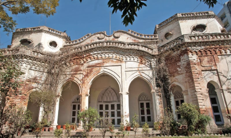 The façade of Poonch House on Adamjee Road, Rawalpindi. Once this mansion was a rest house for Kashmir's Maharaja; today it presents a picture of neglect.