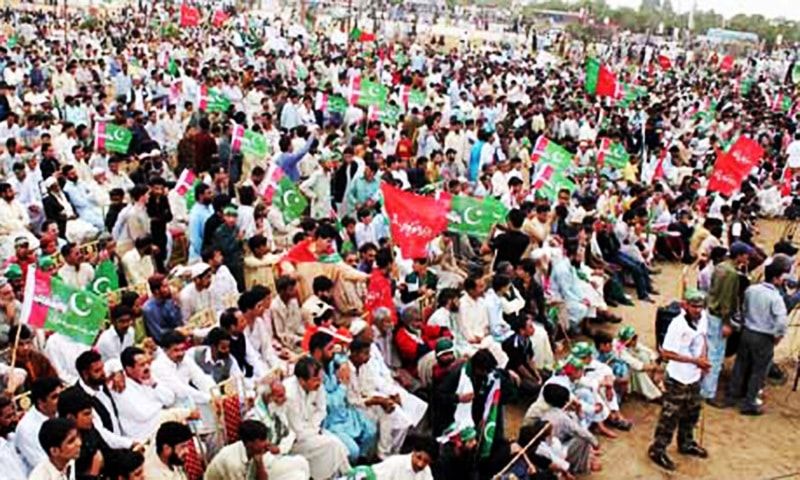 Supporters of Tehrik Hazara Sooba gather near the Quaid's mausoleum in Karachi.  — Online/file