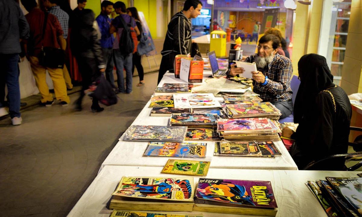 A stall displaying vintage comics