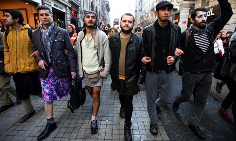 Men wearing skirts come out to protest against the brutal murder of Ozgecan Aslan during a march in Istanbul on Feb 21, 2015. -AP