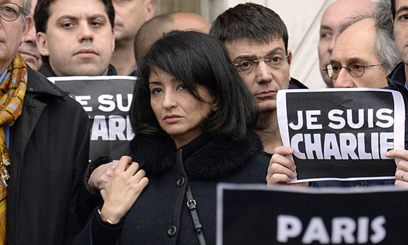 The partner of slain Charlie Hebdo editor Charb, Jeannette Bougrab, outside the Paris City Hall after the city made the weekly satirical magazine 'Charlie Hebdo' an honorary citizen of Paris. - AFP/File