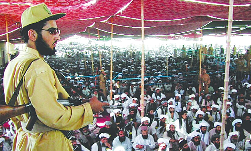 Chaman, 2004: Activists of the Muttahida Majlis-i-Amal, an alliance of religious parties, attend a rally to protest raids on madressas—AFP file photo
