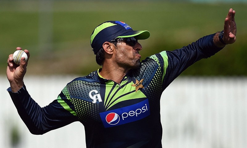 Pakistani captain Misbah-ul Haq throws a ball during their training session at the Allan Border Fields ahead of the 2015 Cricket World Cup Pool B match between Pakistan and Zimbabwe in Brisbane on February 26, 2015. -AFP