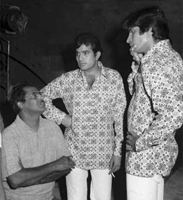 Hrishikesh Mukherjee, Rajesh Khanna and Amitabh Bachchan during the making of Namak Haraam. Photograph courtesy: Jagdish Aurangabadkar and the late Shyam Aurangabadkar