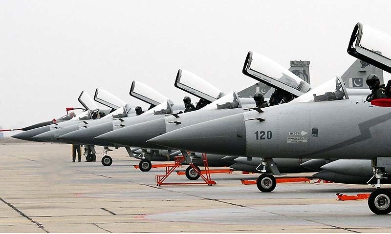 A batch of JF-17 Thunder Aircraft being received during the Induction Ceremony of JF-17 Thunder held in the Combat Commanders School (CCS) of Pakistan Air Force in Islamabad on Monday, January 26, 2015. — PPI/file