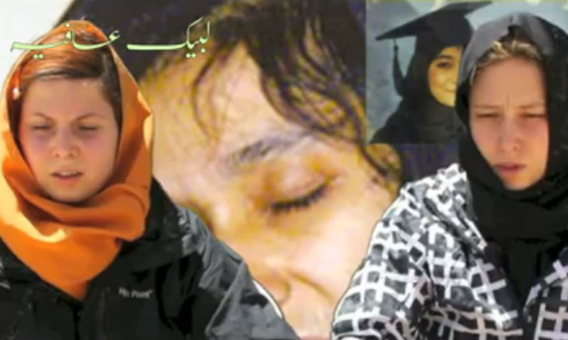 According to a video, uploaded on Internet and later removed, the kidnappers wanted to get Dr Aafia Siddiqui released from US custody in exchange for the Czech women.—Video grab from a facebook page/File