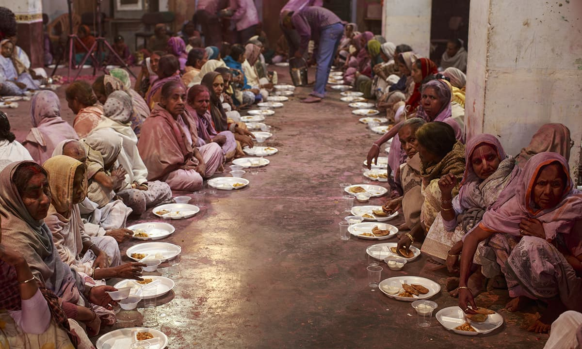 Lunch being served to the widows post celebrations on the first day.