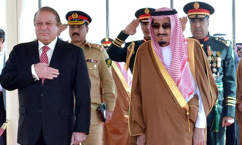 Prime Minister Nawaz Sharif and Saudi King Salman bin Abdul Aziz Al Saud receiving guard of honour. —APP