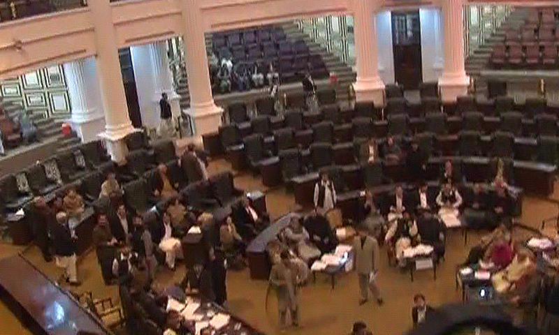 Senate polls in Khyber Pakhtunkhwa Assembly marred by riging allegations.  — DawnNews screengrab