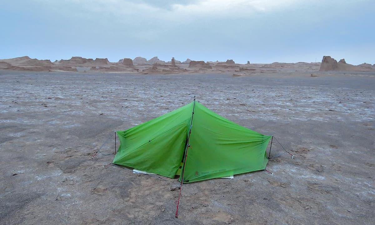 Camping in Dasht-e Lut, Iran.