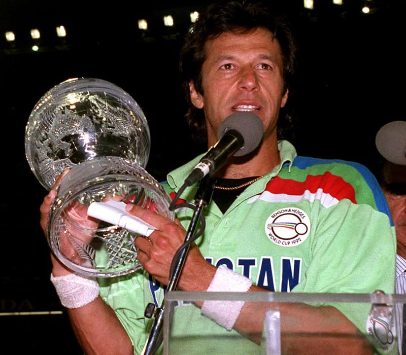 Khan lifts the cup, 1992.