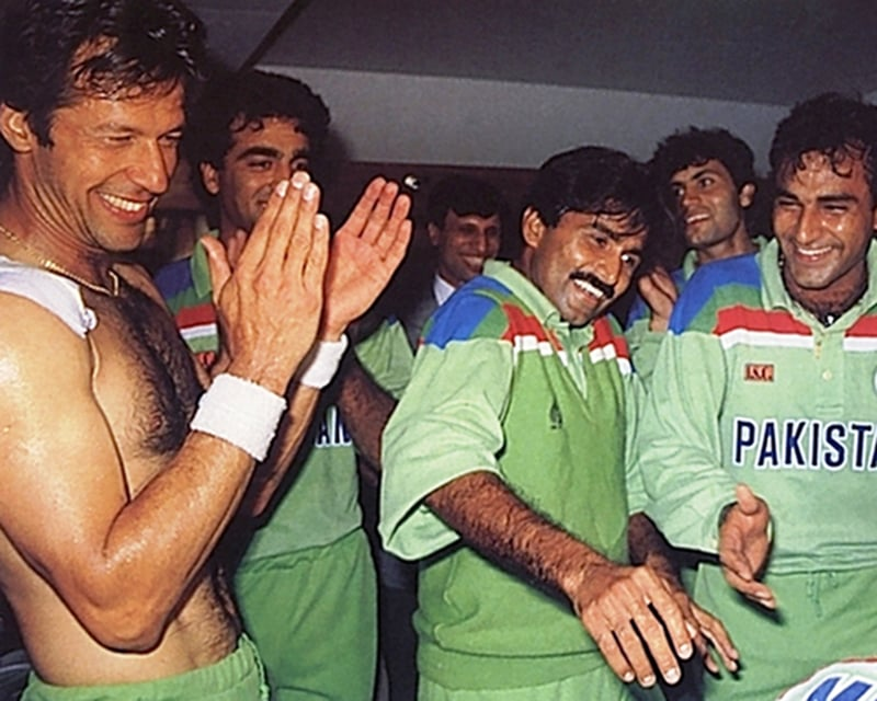 Khan and his players celebrate the World Cup victory: 'But this time, we're keeping the money, skipper …'