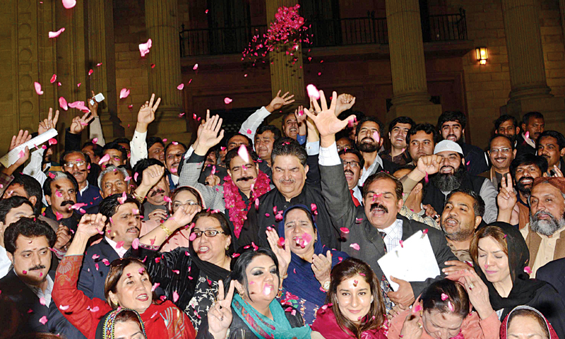 PML-N activists celebrate victory in Senate election. — White Star