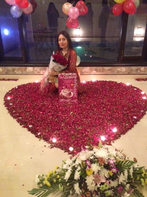 Hasham treats Sharmila to a whole lotta flowers. — Photo courtesy Sharmila Farooqi