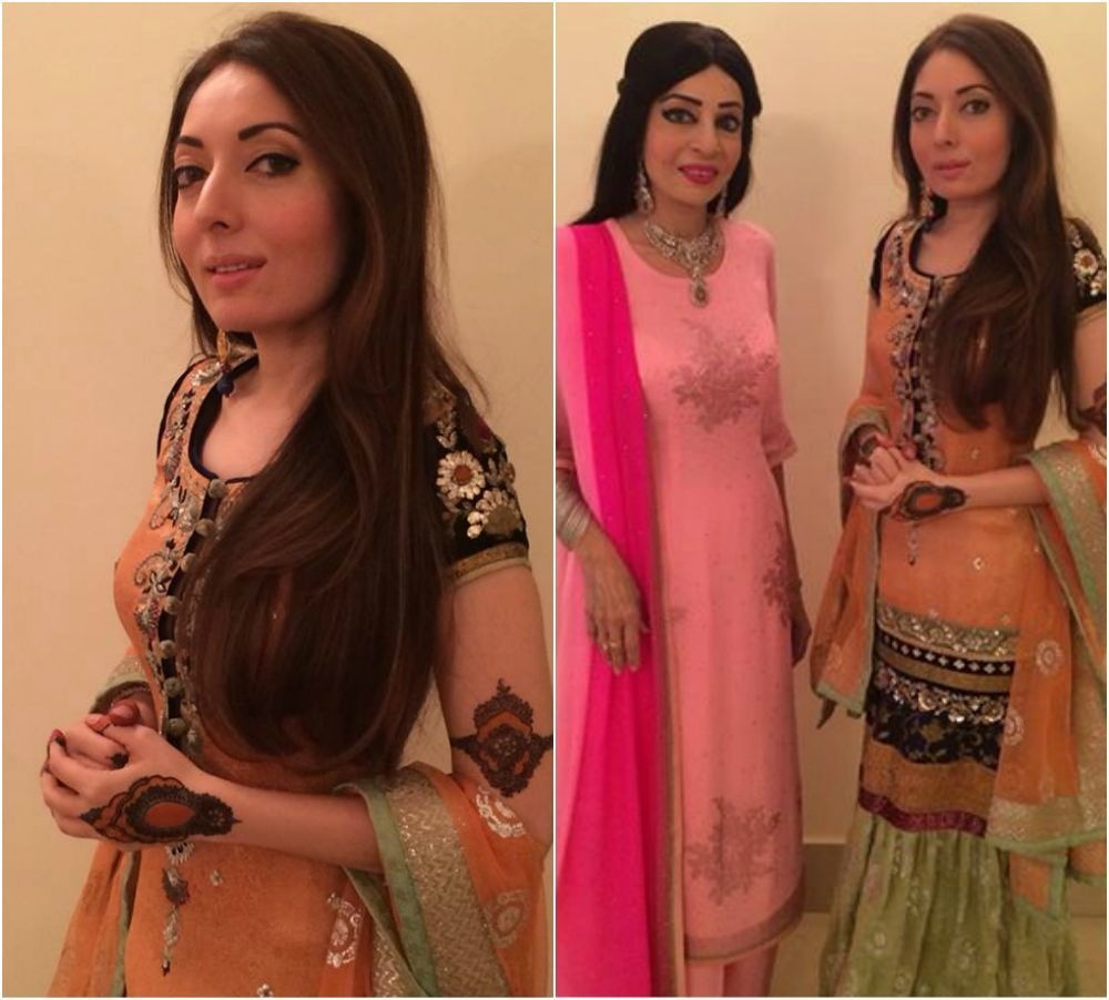 Sharmila in Faiza Samee at ghazal night.— Photo courtesy Sharmila Farooqi