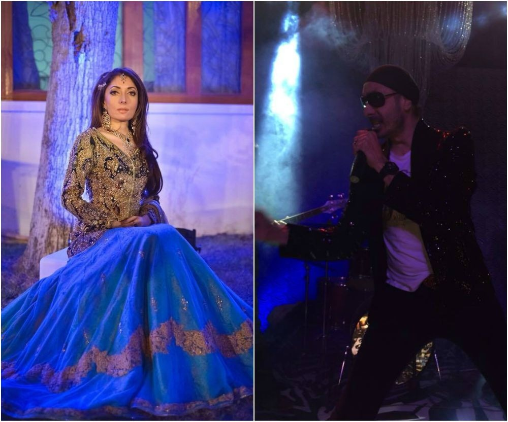 L-R: Sharmila poses in Ali Xeeshan, Sukhbir sings for the crowd.— Photo courtesy Sharmila Farooqi