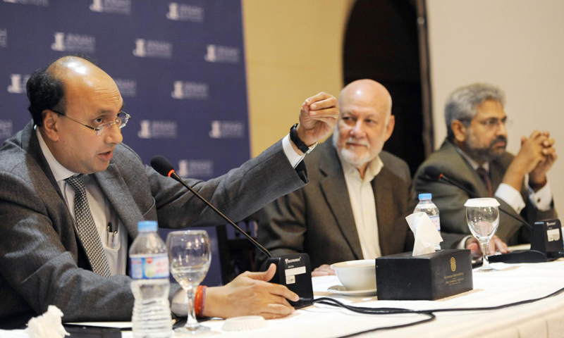 (L-R) Ashok Malik, former ambassador Aziz Ahmed Khan and Siddharth Varadarajan participate in a talk organised by Jinnah Institute on Friday. — White Star