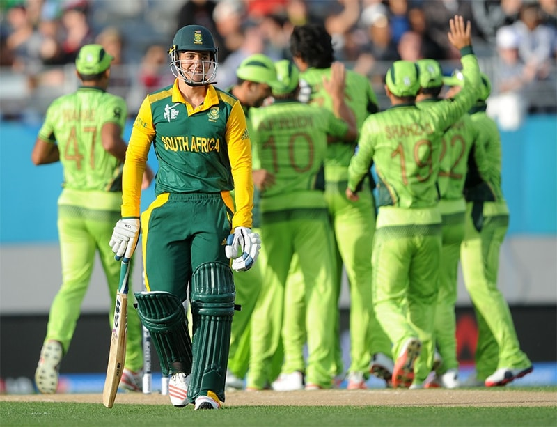 Quinton de Kock wears a wry smile after falling to a bouncy Irfan delivery. —AP