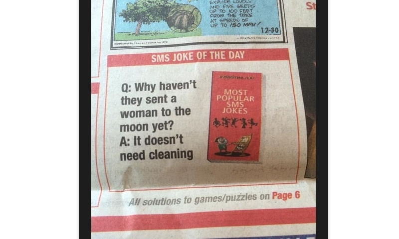 A picture of the joke printed in TOI.