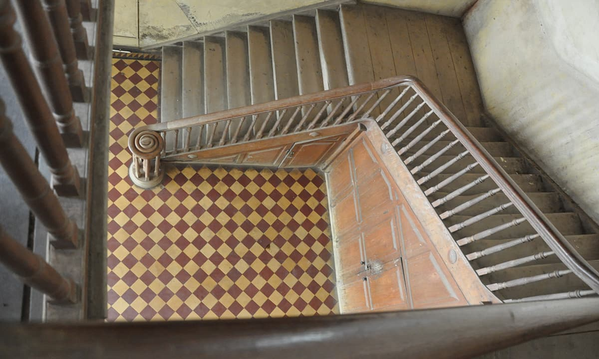 Stairs leading to the first floor inside Lady Dufferin hospital.